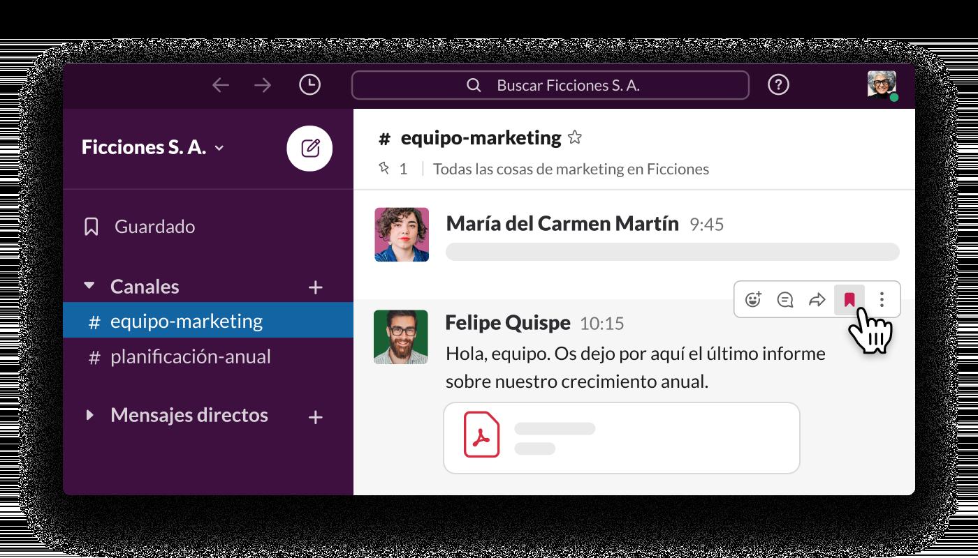Hacer clic en el icono de guardar situado junto a los mensajes de Slack para añadirlos a tu lista de elementos guardados
