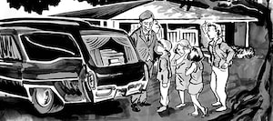 An illustration of a family near a hearst outside of a funeral home