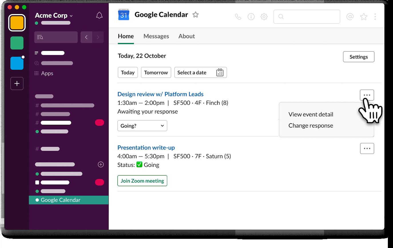 App Home in Google Calendar