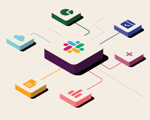 Array of app icons connected to Slack