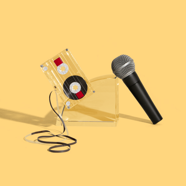 A microphone and cassette display the quickly evolving media landscape.