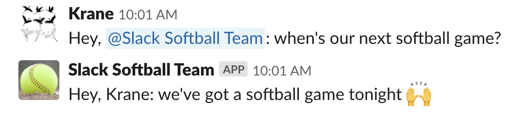 Slack Softball Team app call and response