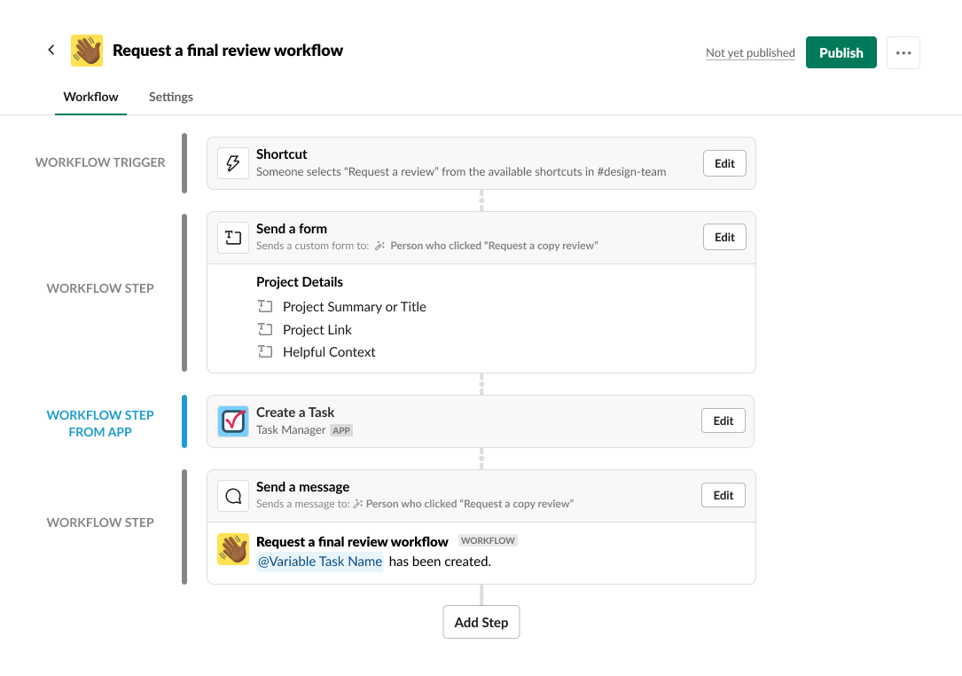 Workflow Builder Steps from Apps