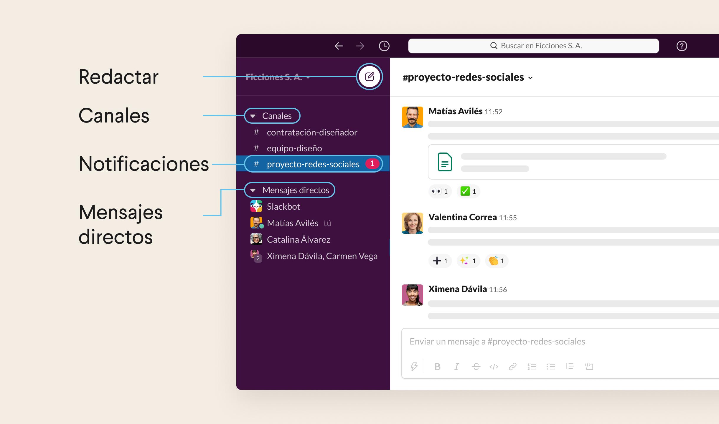 Listado de canales, mensajes directos y notificaciones en la barra lateral izquierda de Slack
