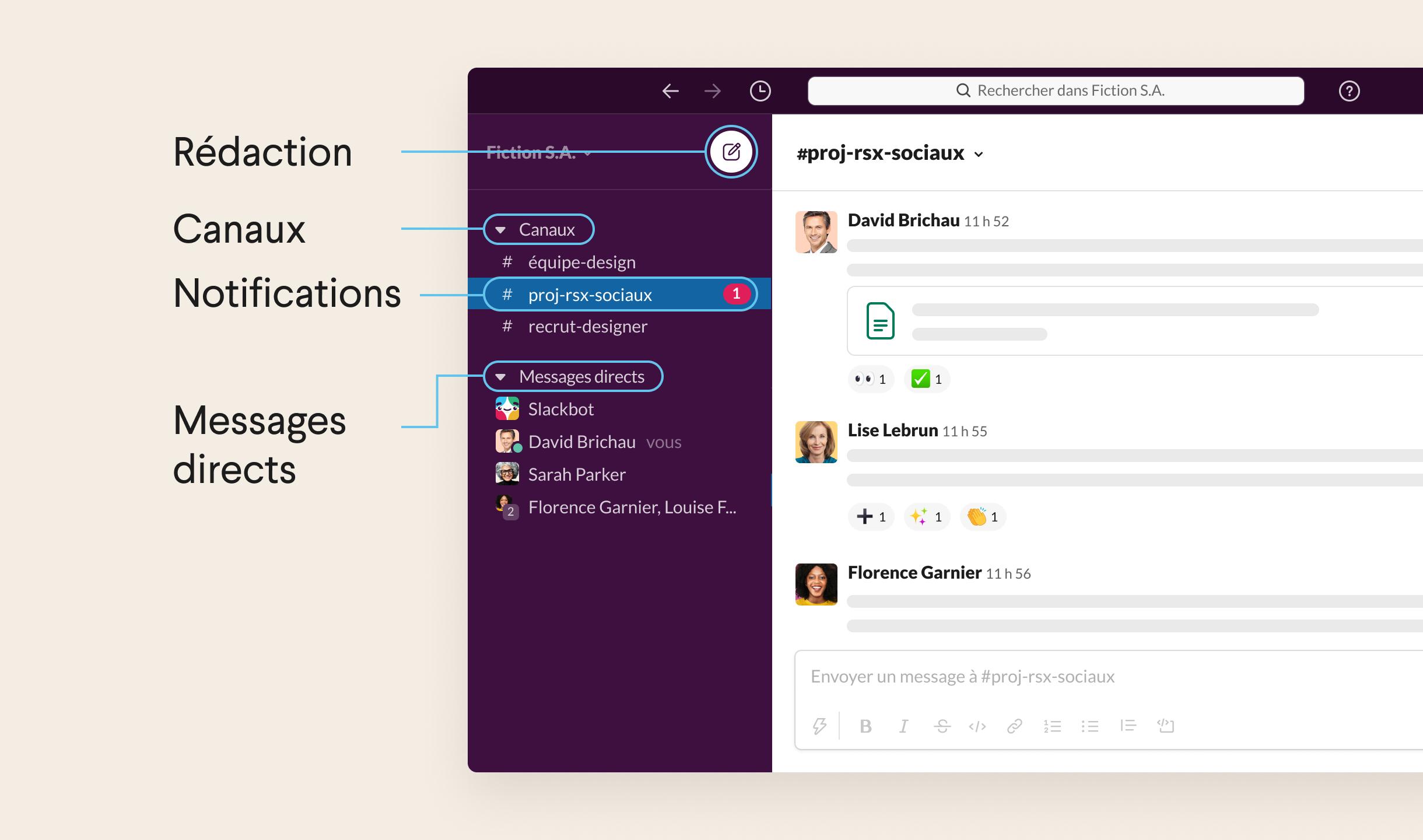 Liste des canaux, messages directs et notifications accessibles dans la barre latérale gauche de Slack