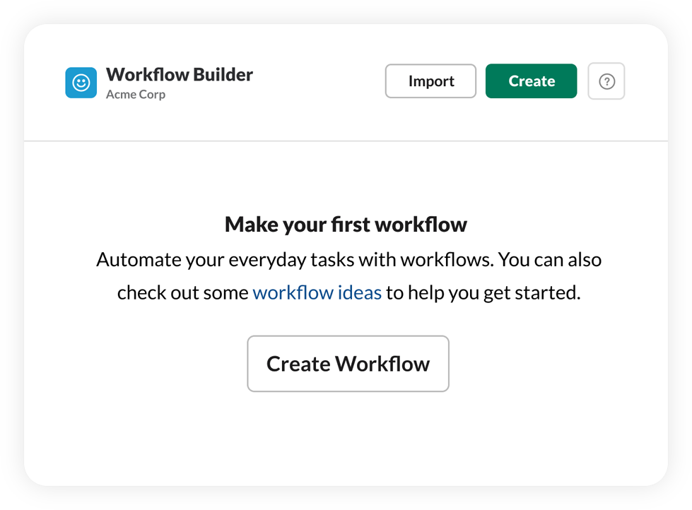 Creation flow for workflows