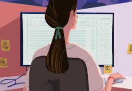 Illustration of a women working on a computer.