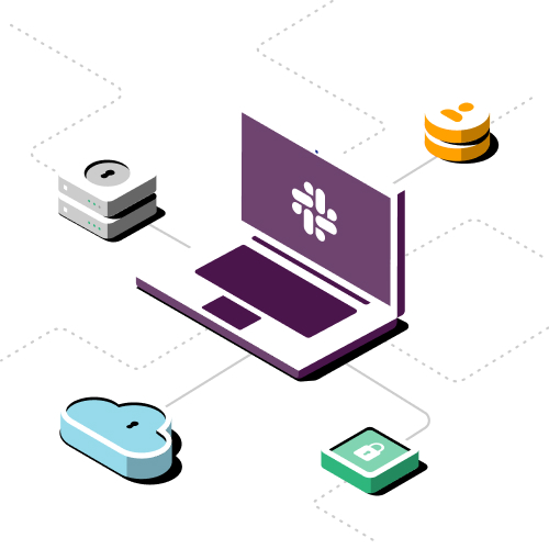 Slack 安全性圖片,圖片中有一台筆電延伸至四個不同的圖示。