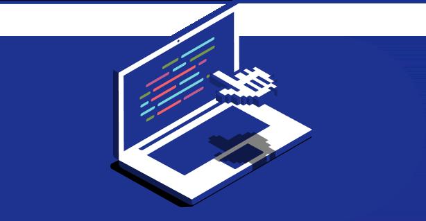 Ilustración de una computadora portátil con un cursor flotante