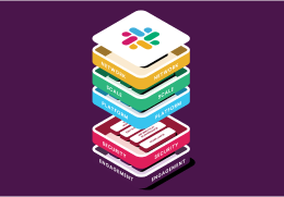 Colourful blocks with Slack logo