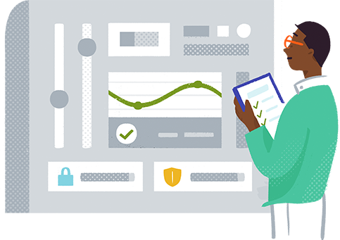 Abstract illustration of a security dashboard