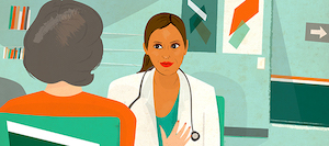 A doctor listens to a woman in a doctor's office.