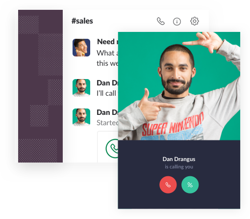 Alert window for an incoming video call in Slack