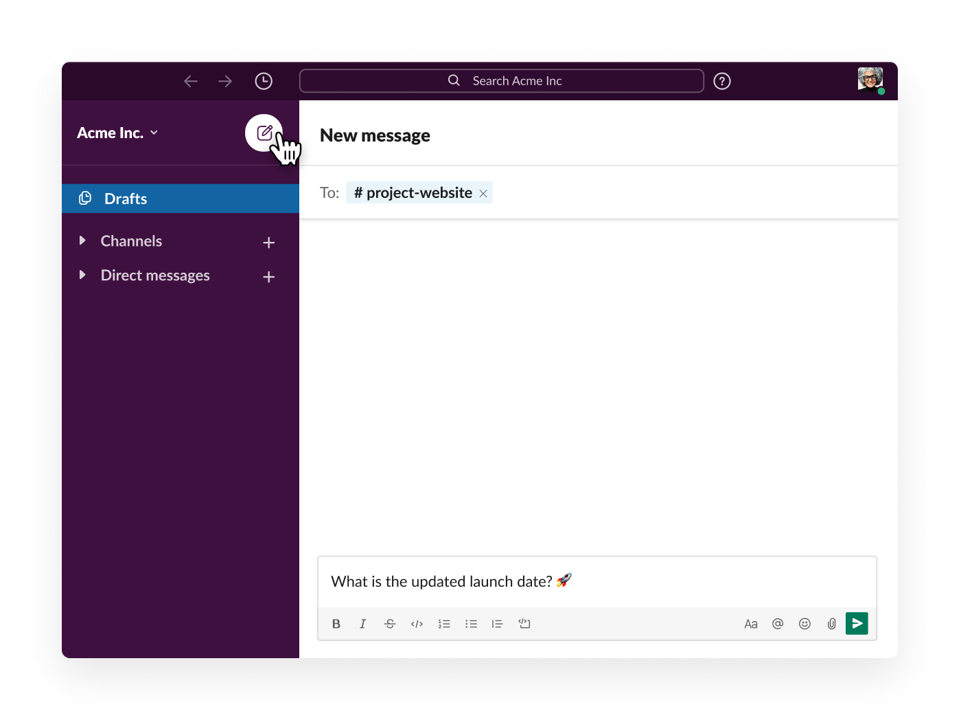 writting a new message from the compose button in Slack
