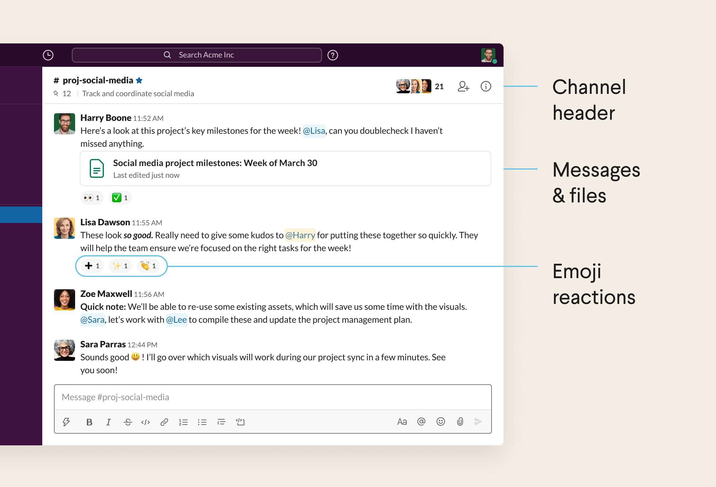 A conversation in a Slack channel