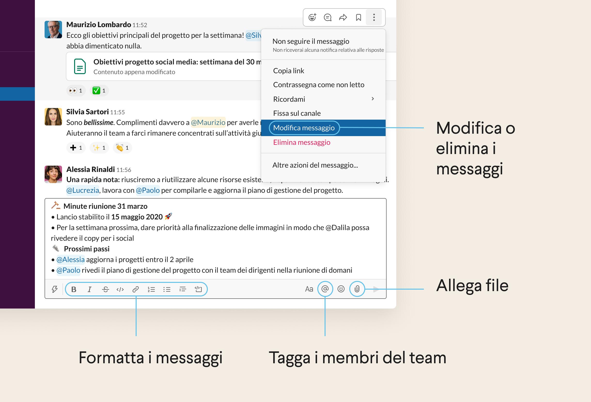 Messaggio scritto nel campo messaggio di Slack