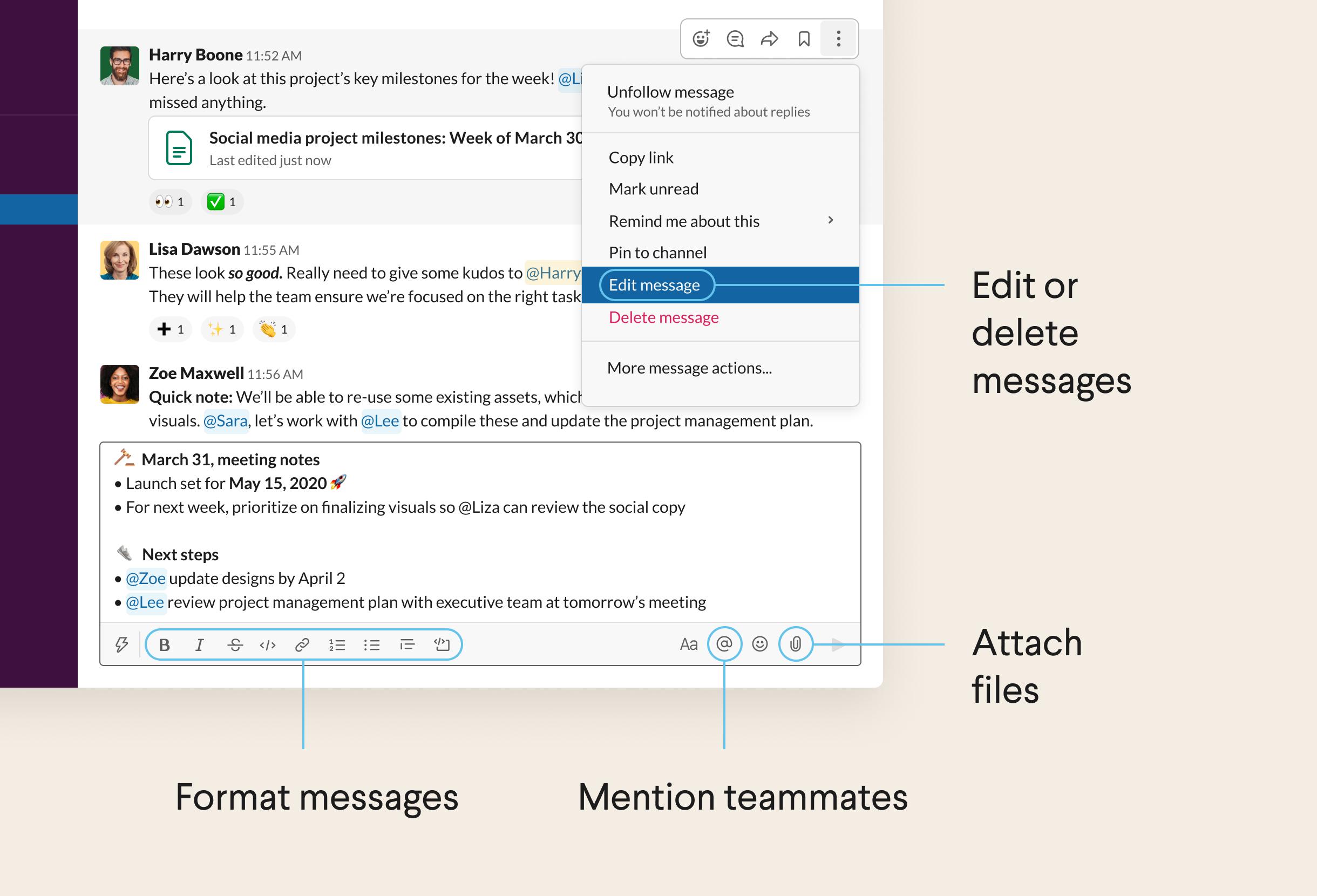 A message written in the Slack message field