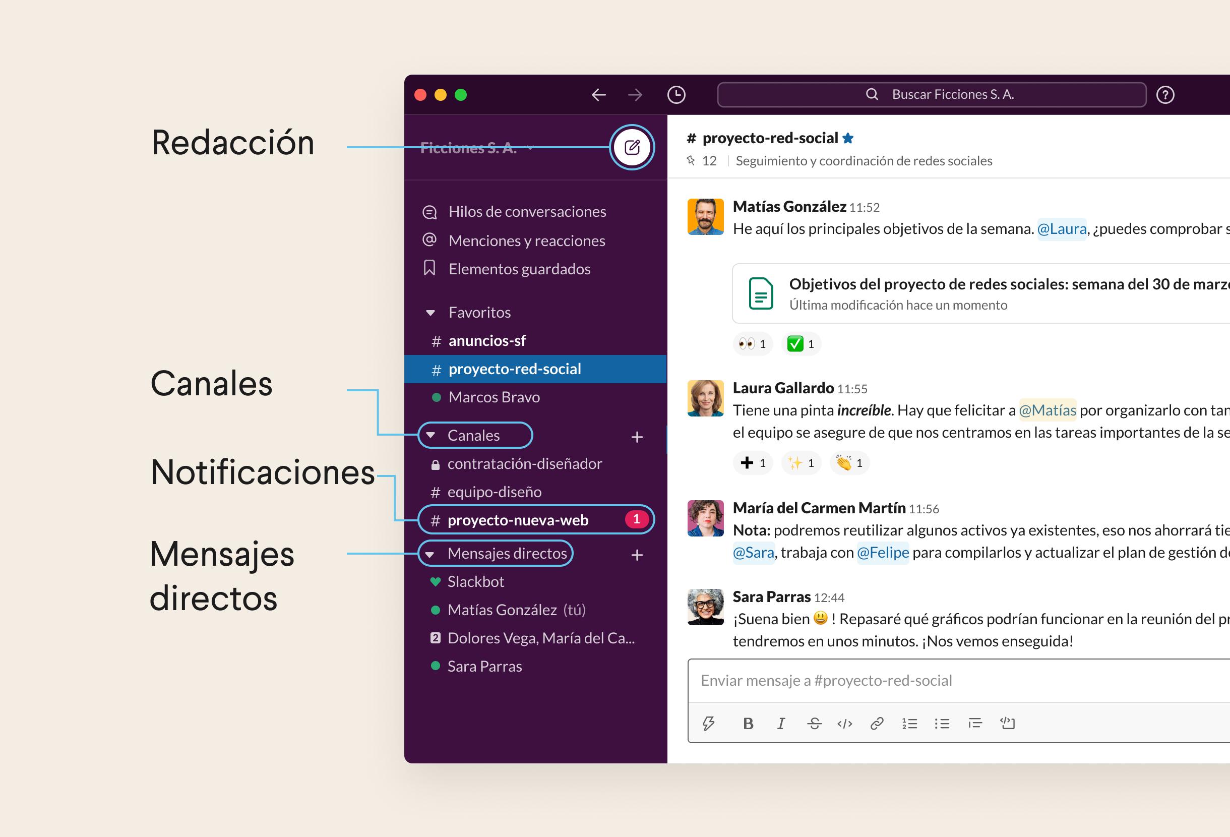 Lista de canales, mensajes directos y notificaciones en la barra lateral izquierda de Slack