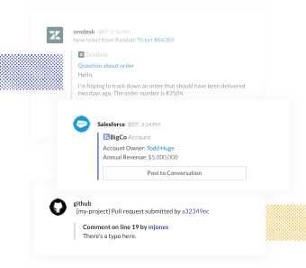 Automated messages from Zendesk, Github, and Salesforce apps. Salesforce integration displays customer account information with button to post to main converstation.