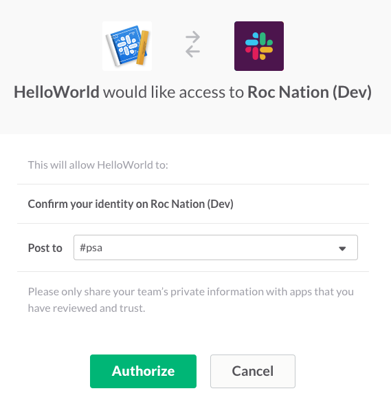 Hello world: sending your first Slack app message | Slack