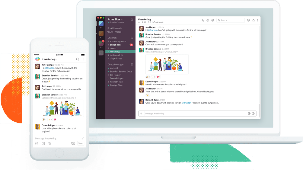 Slack app on a mobile device and laptop